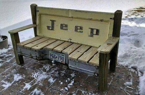 Jeeps Benches And License Plates On Pinterest