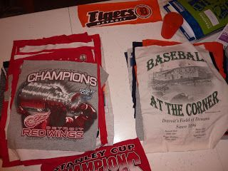 Snipe Snipe, Dangle Dangle: How to Craft a Red Wings-Tigers T-shirt Blanket... Double sided!