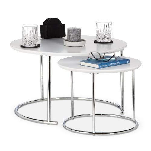 Relaxdays Table Gigogne Set De 2 Table De Salon Petite Ronde Mate Table Basse Bois Metal Chrome 60x60 Cm Blanc En 2020 Table De Salon Tables Gigognes Table Basse