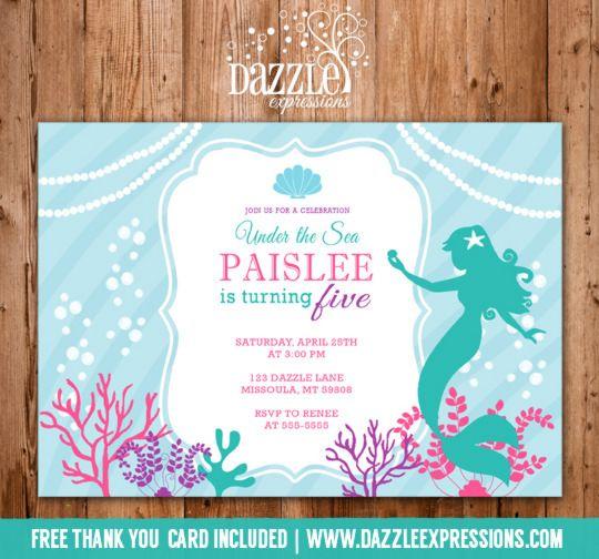 Printable Mermaid Birthday Invitation Under the Sea Ocean