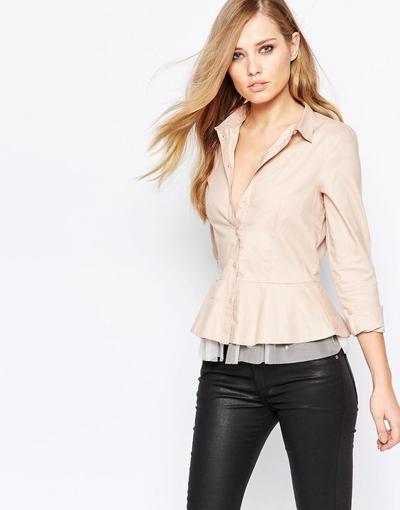 Sisley+Shirt+With+Tulle+Detail+in+Pink