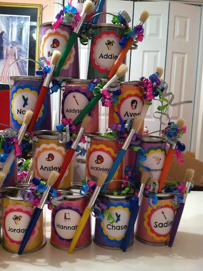 These are adorable diy art party paint can favors just for Kids paint party