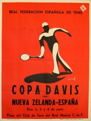 Davis Cup 1961, Spain v New Zealand - original vintage poster by Courerelli listed on AntikBar.co.uk