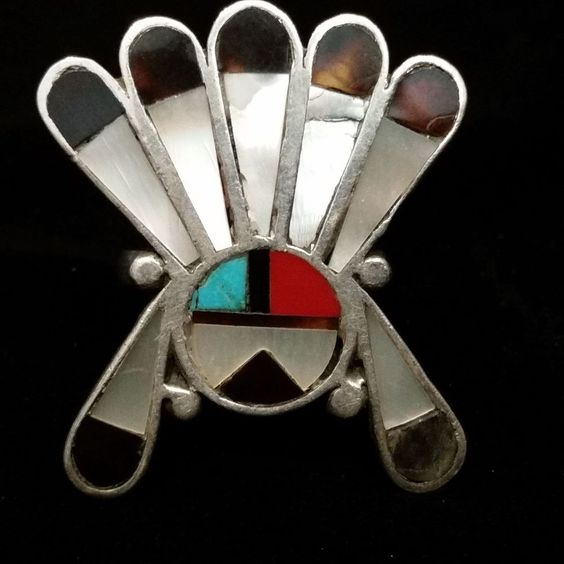 Old Pawn Zuni Navajo Sterling Turquoise Inlay Sunface Chief Head Dress Ring Sz 6