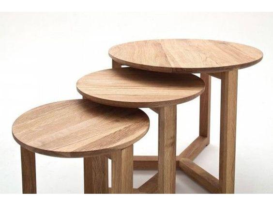 Couchtisch Brava Tisch 3er Set Asteiche Massiv Geolt 50x42cm 35x35c In 2020 Table Decor Furniture