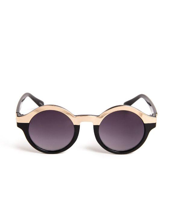 Metal Circle Half Frame Sunglasses