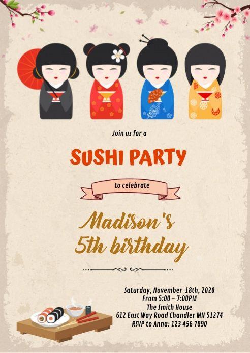 Japanese Doll And Sushi Birthday Invitation In 2021 Birthday Invitations Birthday Invitation Templates Free Birthday Invitations