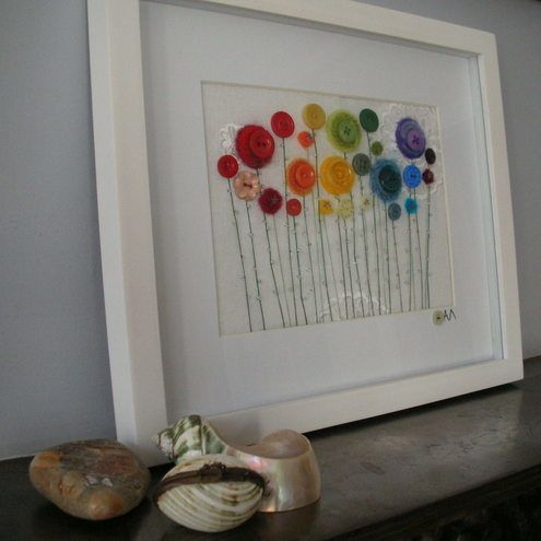 Small rainbow floral button picture crafts diy for Small flowers for crafts