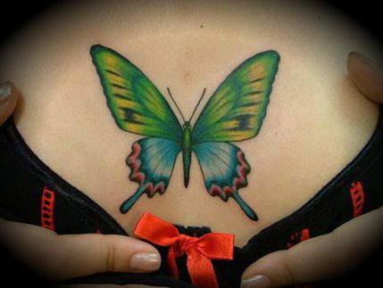 Beautiful butterfly tattoo on the chest