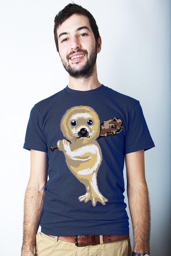 Men's Clubbing Baby Seal T-shirt, Seal shirt