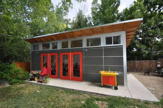 Studio shed backyard studio and sheds on pinterest for Modern office shed