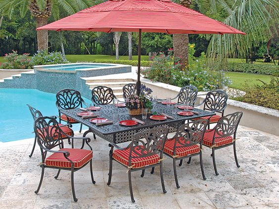 Beautiful terrace and dining sets on pinterest for Low maintenance outdoor furniture