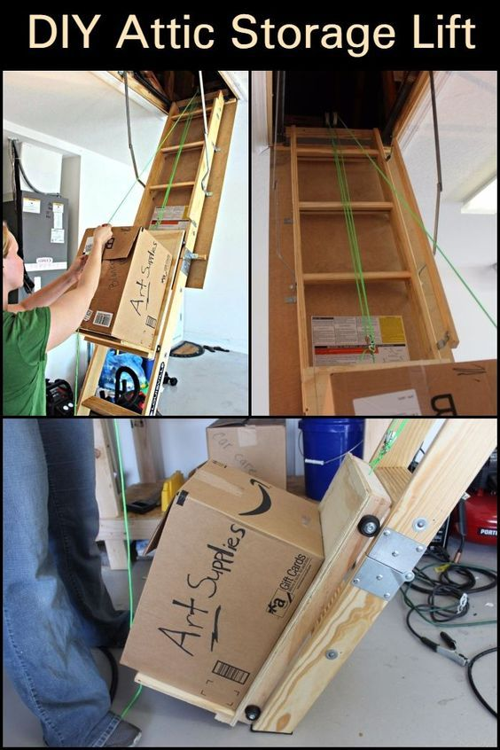 Instead Of Giving Yourself A Hard Time And Risk Getting Injured Use A Pulley System To Help You Bring Those Boxes Up The Attic Attic Storage Diy Attic