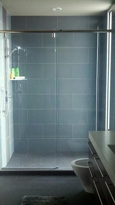 Ocean glass 4 x 12 subway tile shower tiles grey and for Large bathroom tiles in small bathroom
