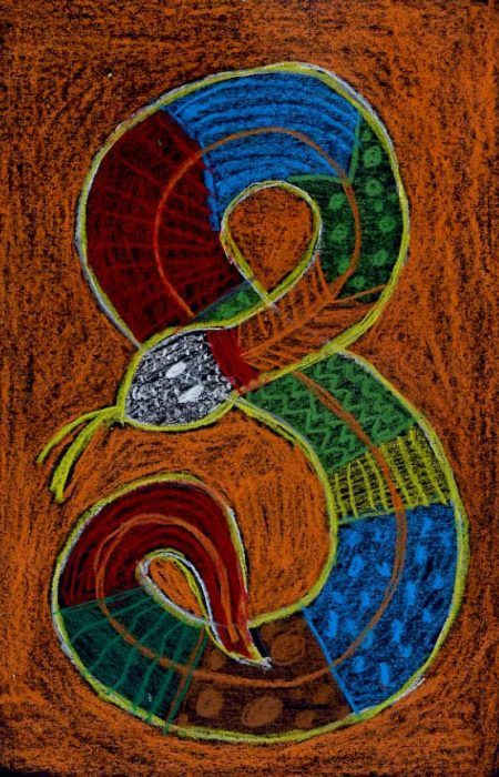 My Aboriginal snake drawing was inspired from Australia, where there are Aborigines who live today as they did thousands of years ago.