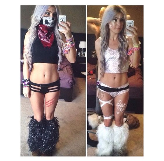 rave outfit inspiration skull bandana crop top leg wraps fluffies edm edc festival fashion pretty rave