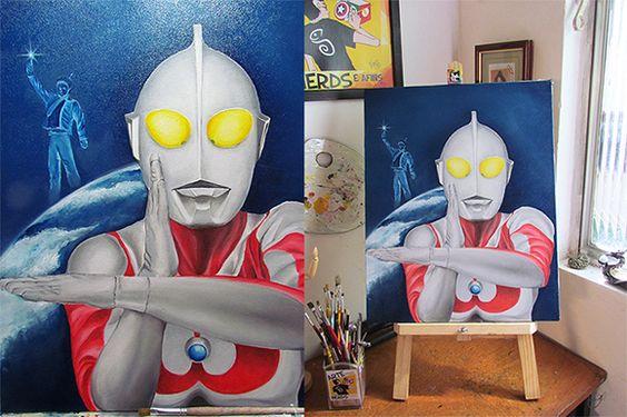 Ultraman , óleo sobre tela tamanho 50x60, finalizada para loja virtual. Arte para Nerds e Afins.