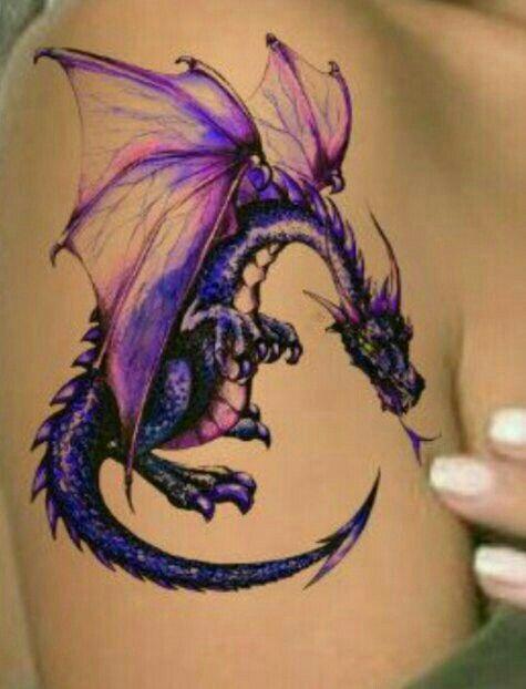 Cooltop Friend Tattoos Dragon Tattoo Purple Drachentattoo Lila Tattoo Tattoos Drachen