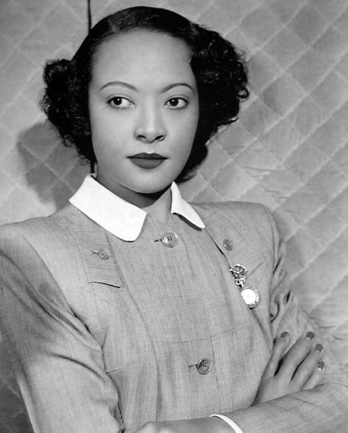 "Actress Theresa Harris as she appeared in the 1948 film, ""The Velvet Touch,"" which starred Rosalind Russell. Ms. Harris was the inspiration behind Lynn Nottage's play, ""By the Way, Meet Vera Stark"" which starred Sanaa Lathan. From Donald Bogle's Bright Boulevards, Bold Dreams: The Story of Black Hollywood: ""Harris - who was both outspoken and highly intelligent - didn't mince words about the plight of colored actresses. She told Fay M. Jackson, of the California Eag:"