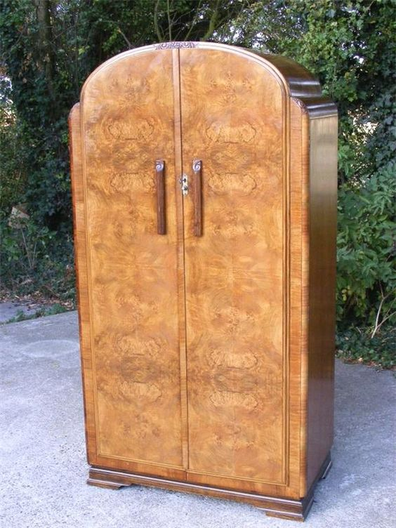 a superb art deco walnut wardrobe classic arch top with carved detail to corners and top art deco figured walnut wardrobe vintage