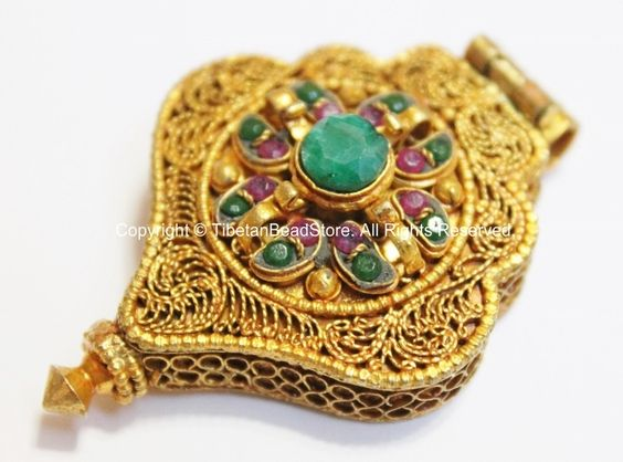 24 karat gold plated tibetan buddha ghau prayer box pendant with 24 karat gold plated tibetan buddha ghau prayer box pendant with ruby emerald inlays aloadofball Gallery