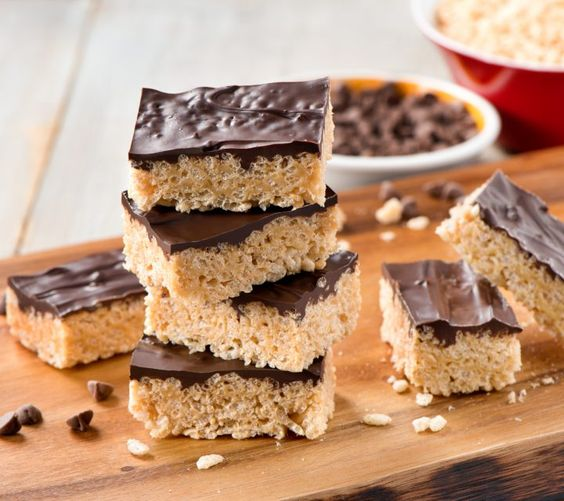 Peanut Butter Chocolate Rice Krispie® Treats-used dairy-free choc. chips