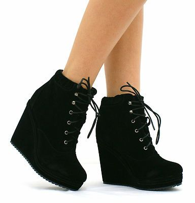 Wedge high heel shoes | BLACK HIGH WEDGE HEEL LACE UP PLATFORM