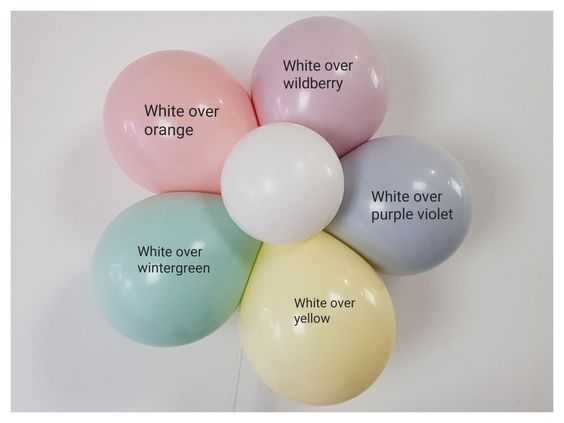 Soft pastel colours by blending balloons inside balloons