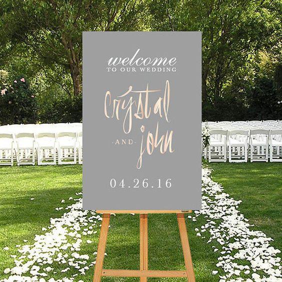 Druckbare Hochzeit Willkommensschild, Rosegold Digitale Schilder, Kalligraphie Hochzeit willkommen, personalisierte Schilder, Rosa grau, Blush grau, druckbare Zeichen