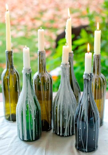 Candles in the tops of bottles. At least the bottles won't stay broken for long before they're replaced