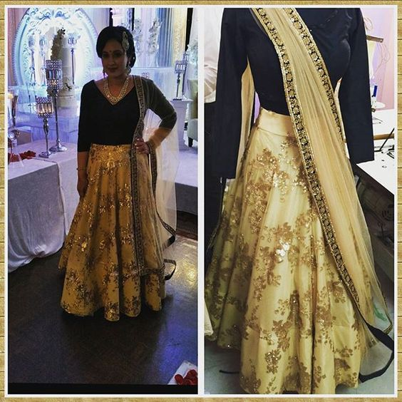 nice vancouver wedding My client at her sister's reception. Loved this gold lengha... embroidery was made with shimmer sequins that were designed into florals and paisley. Located in Brampton. Let Zardozi Couture design your next outfit! 4169102592 whatsapp for any inquiries.  #vancouverwedding #vancouverwedding