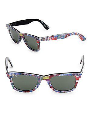 Ray-Ban 50MM Printed Classic Wayfarer Sunglasses - Black - Size No Siz