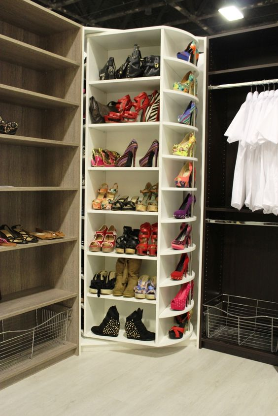luxury closet revolving shoe rack and closet system on