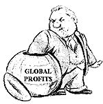 Thsi image shows that the powerful and influential people take the profits fo themselves.