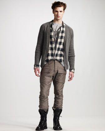 Open Cashmere Cardigan, Plaid Tiger Shirt, Cargo Pants & Leather Ranger Boot by Balmain. #BGSale