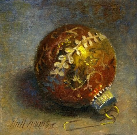 Gold Christmas Ornament 6 x6 Oil on canvas, painting by artist Hall Groat II