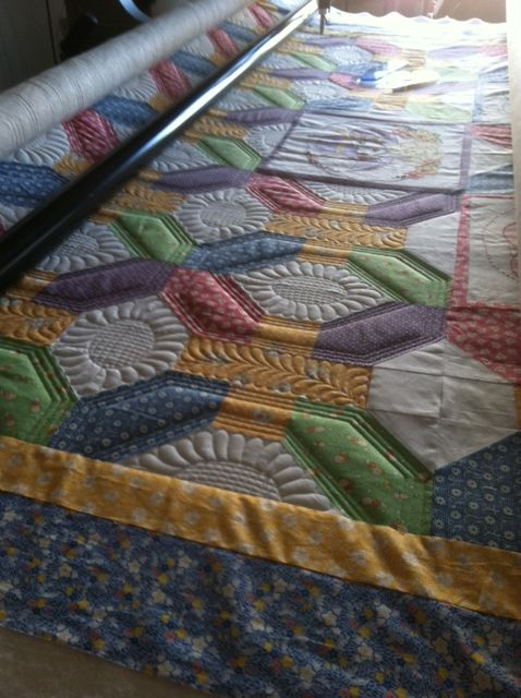 Longarm Quilted, Lots of Ruler work on this 30 s repo quilt, but well worth it.