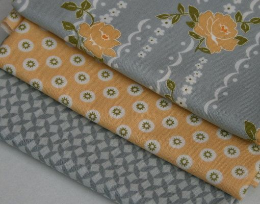Henry Glass Fabric Bundle Pack, Nine Dots, Soft Gray and Yellow, You Choose on Etsy, $7.25