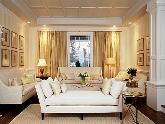 formal living room design ideas with gold curtain elegant lamps with long sofa and white pilow