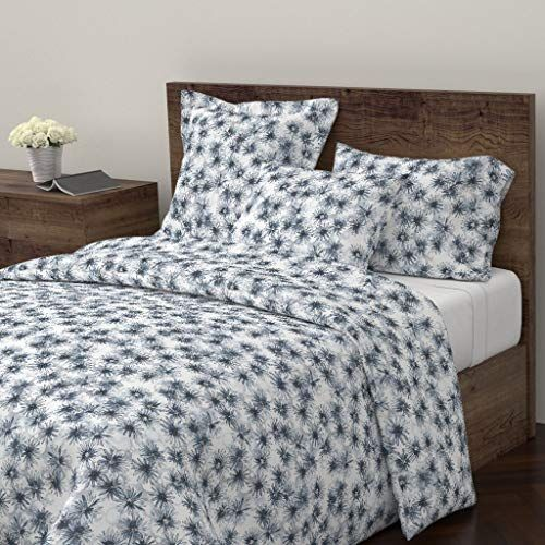 Roostery Watercolor Flowers Duvet Cover Navy Blue And White Abstract Flowers Modern Flowers Navy Floral Blue Grey Flower Duvet Duvet Covers Twin Modern Flower