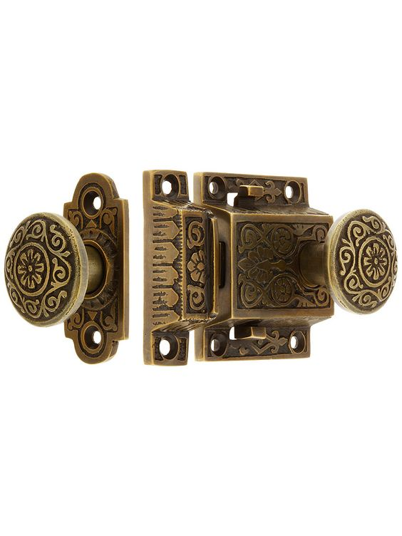 Decorative Cast Brass Screen Door Latch Set In Antique-By-Hand ...