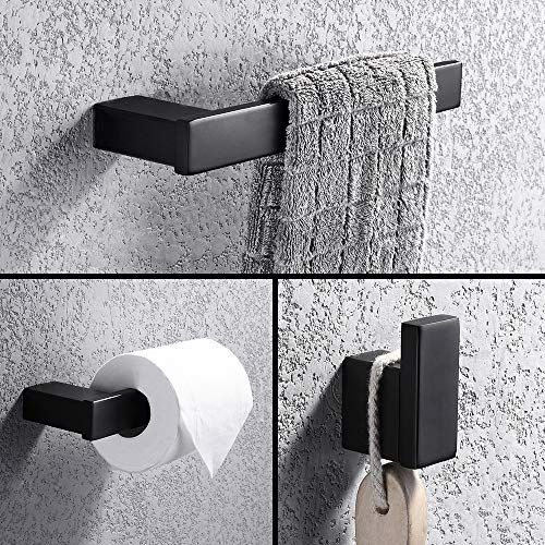 Turs 3 Piece Bathroom Accessory Set Sus 304 Stainless Steel Rustproof Toilet Paper Hol In 2020 Black Bathroom Accessories Bathroom Accessories Sets Toilet Paper Holder