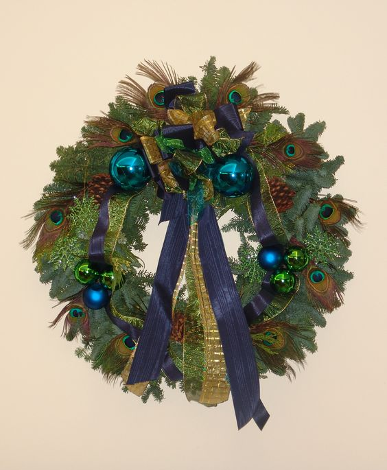 Festive peacock holiday wreath by Nature of Design with Janet Flowers