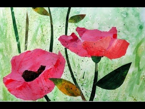 Acryl Mohnblumen Collage Acrylics Poppies Collage Simple Relaxing Youtube Kunststunden Mohnblume Diy Collage