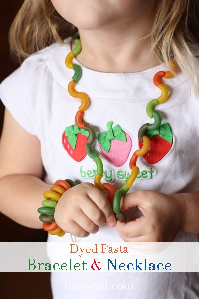 Your little ones will love to create their own jewelry designs with this great DIY Dyed Pasta Jewelry kids' craft!