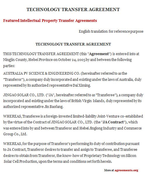 Technology Transfer Agreement Employment Agreement Technology