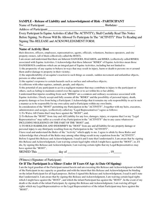 Waiver Of Liability Form Sample Swifterco release of – Waiver of Liability Sample