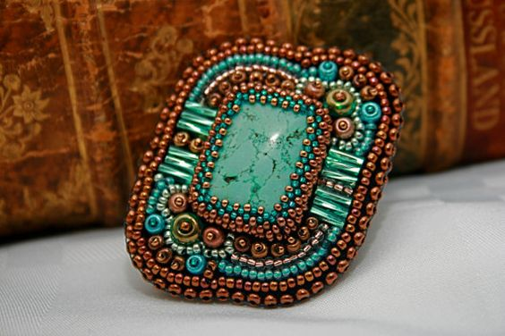 Beaded turquoise brooch handmade with glass by HandcraftsFromEmily, $45.00