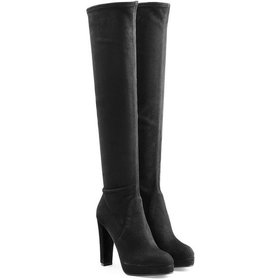 Sergio Rossi Suede Over-the-Knee Platform Boots (€1.185) ❤ liked on Polyvore featuring shoes, boots, black, over the knee boots, black suede boots, suede platform boots, over the knee suede boots and black boots