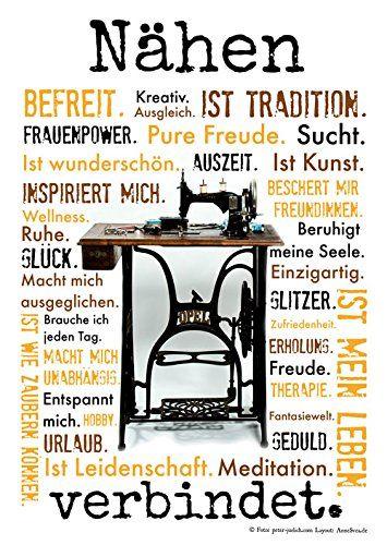 Nähen verbindet Druck Poster Nähmaschine AnneSvea Sewing